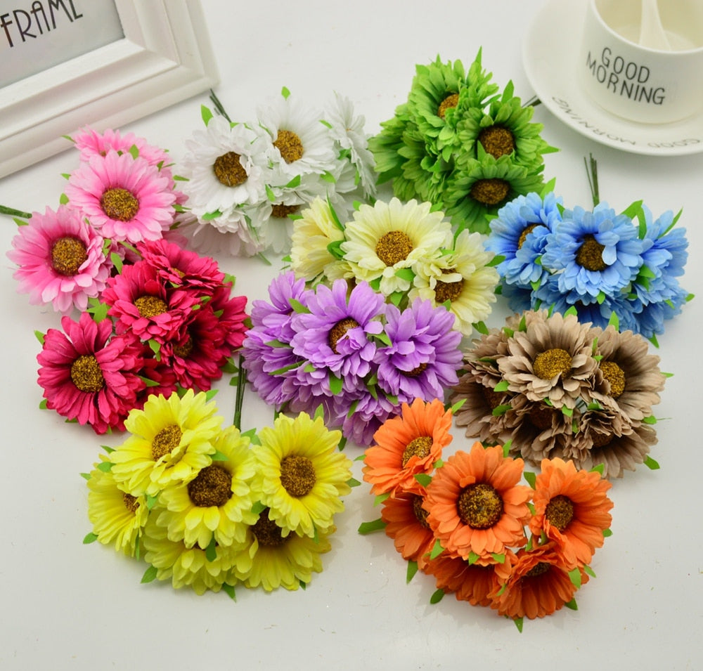 6pcs handmade gerbera fashion home garden bride diy wreath material wedding banquet decoration artificial flower scissors crown - Rumor Flowers