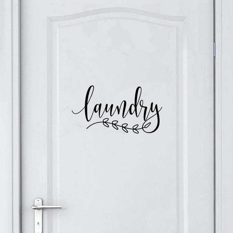 Bathroom Sign Decal Home Toilet Door Art Wall Decor , Laundry Door Sign Vinyl Sticker Farmhouse Style Mural Decals Home Decor - Rumor Flowers