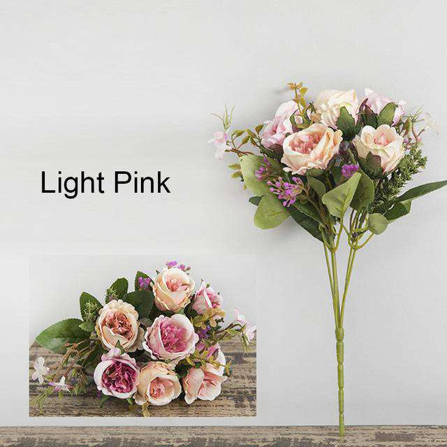 Silk Faux Peony Artificial Flower Bouquet / Wedding Decoration Pink Mini Rose / Fake Flowers Decor for Home - Rumor Flowers