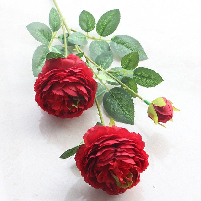 3 flower Heads Peony Simulation FLOWER Suit  artificial Rose Wedding Decoration fake floral home decor - Rumor Flowers
