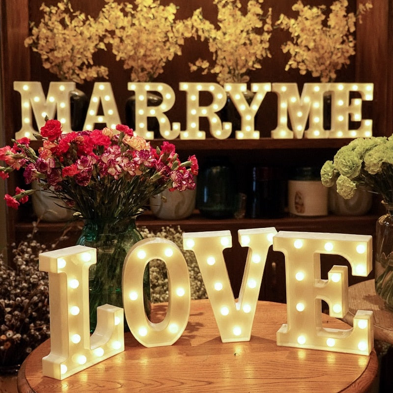 Alphabet Letter LED Lights Marquee Sign Number Lamp Decoration Night Light For Party Bedroom Wedding Birthday Christmas Decor - Rumor Flowers