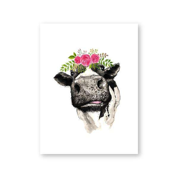 Cow Wall Picture for Farmhouse Home Decor - Rumor Flowers