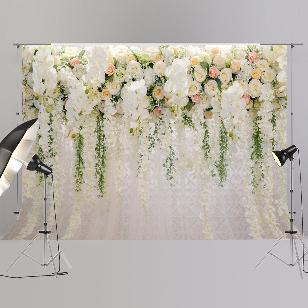 Wedding Backdrop Bridal Shower Large Background White Floral Wister Design Decoration Photography Booth XT-6749 - Rumor Flowers
