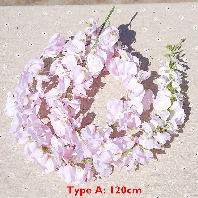 120cm long Artificial Wisteria Flower Vine Silk Hydrangea rattan DIY Wedding birthday party Decoration Wall backdrop flowers - Rumor Flowers