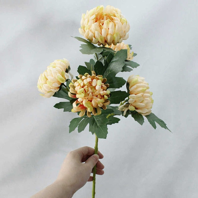 5 Big Heads Marigolds Chrysanthemum Artificial Silk Flowers - Rumor Flowers