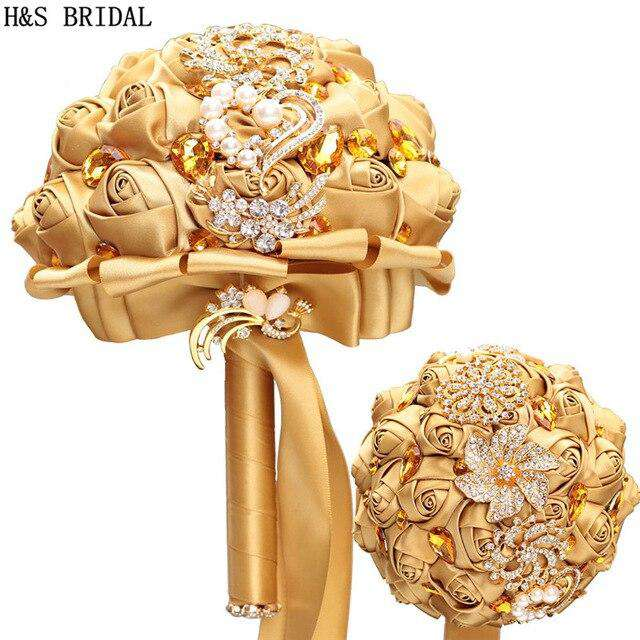 Handmade Sparkling Gold Wedding Bouquet - Rumor Flowers