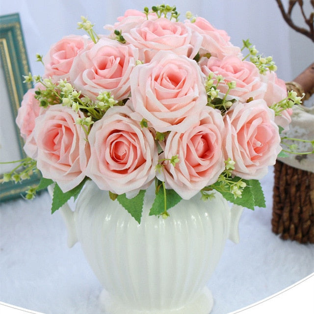 Wedding Bouquet Polyester 9 Rode Heads - Rumor Flowers