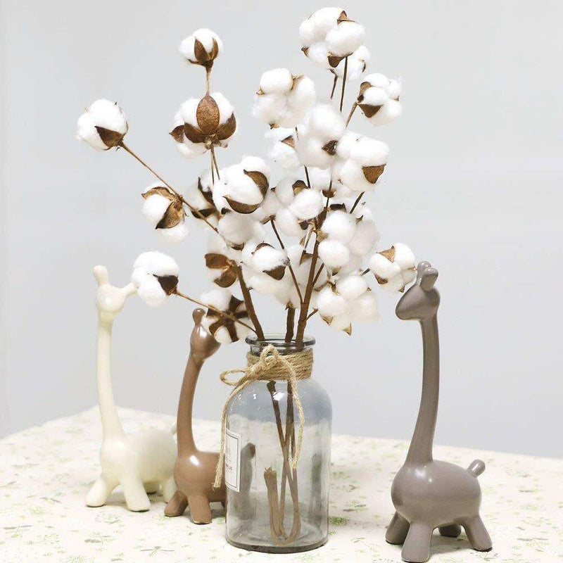 3Pcs 21 inch Naturally Dried Cotton Stems Flower Artificial Flower Foliage Home Office Garden Flower Decoration indoor L528 - Rumor Flowers