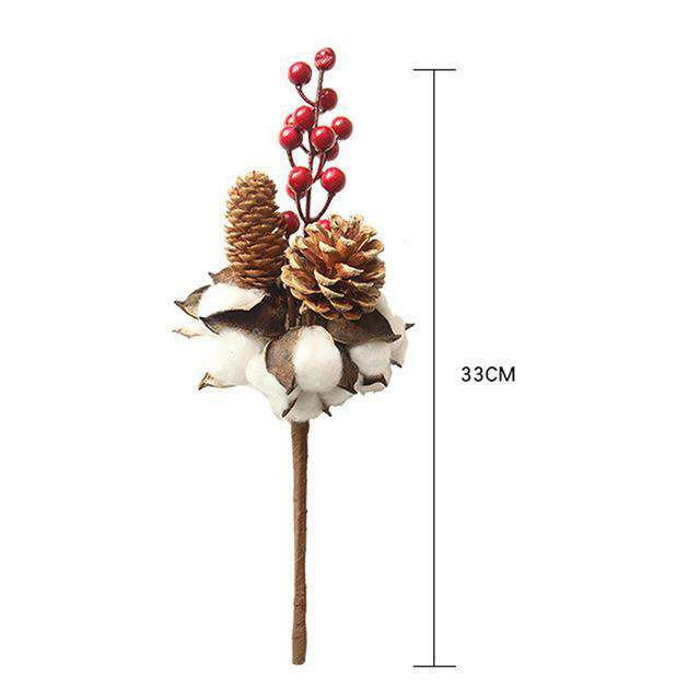 Artificial Cotton Berry Pine Cone / Natural Dried Flower Branch / Pine Cone Flower Decor - Rumor Flowers