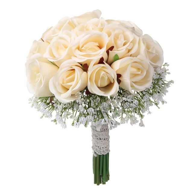 Artificial Gypsophila Rose Flower Bridal  Bouquet - Rumor Flowers