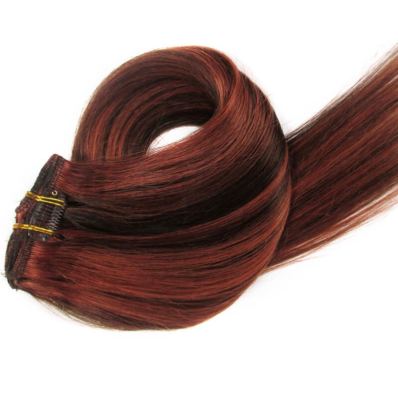 Medium Auburn & Dark Chocolate Brown Clip-In Hair Extensions-Clip In Extensions-House of Zettie Hair