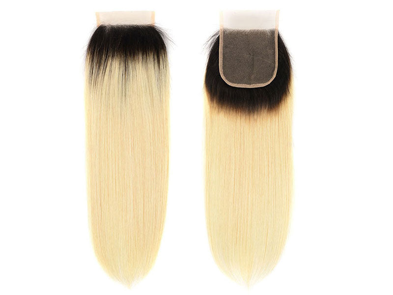 1b/613 Blonde Silky Straight Lace Closure-Lace Closures-House of Zettie Hair