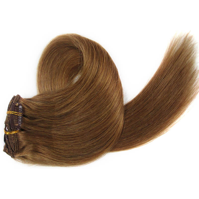 Medium Golden Brown Clip-In Hair Extensions-Clip In Extensions-House of Zettie Hair