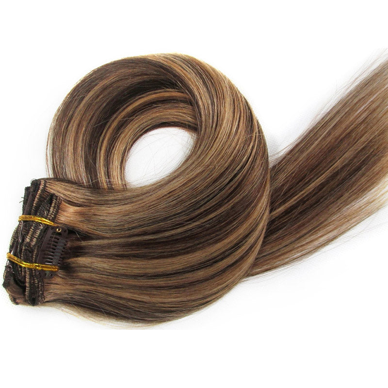 Dark Chocolate Brown/Strawberry Honey Blonde Clip-In Hair Extensions-Clip In Extensions-House of Zettie Hair