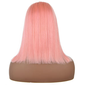 Pink - Lace Frontal Pre-Plucked Bob Wig-Wigs-House of Zettie Hair