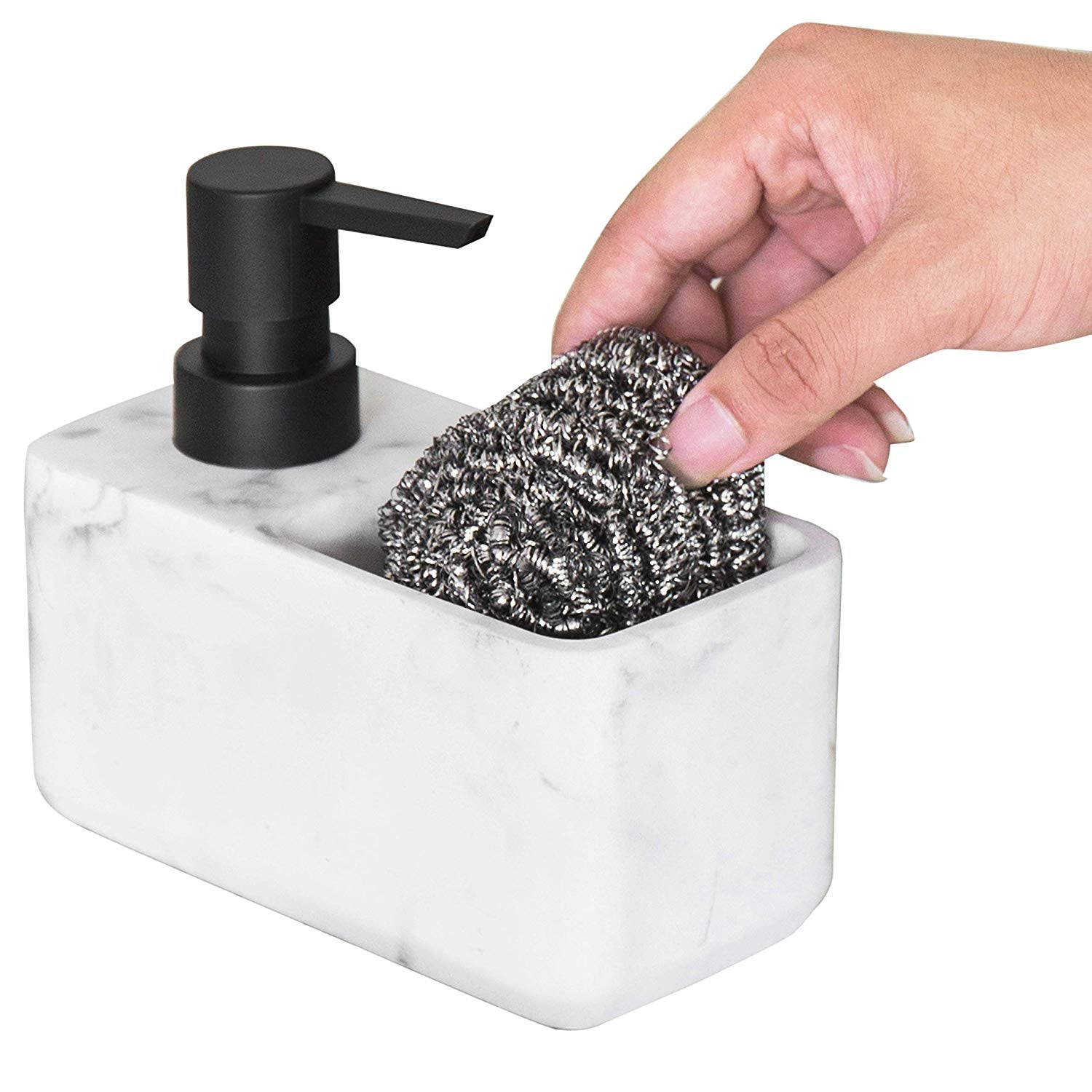 MyGift Faux Marble White Resin Dish Soap Dispenser with ...
