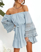 Load image into Gallery viewer, 2019 Summer Sexy Word Shoulder Lace Stitching Trumpet Sleeves Off-Shoulder Dress