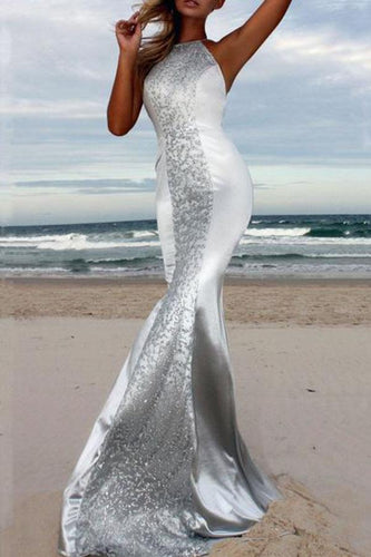 Sexy Halter Backless Sleeveless Maxi Evening Dress