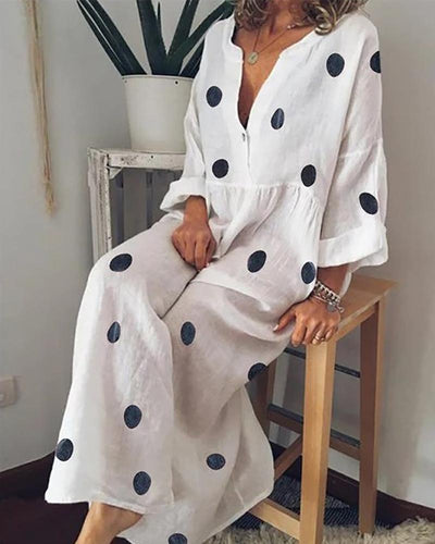 V-Neck Linen Dot Print Dress