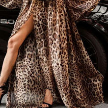 Load image into Gallery viewer, Off Shoulder Sexy Leopard Printed Flare Sleeve Maxi Dress