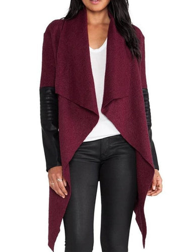 Fold-Over Collar  Patchwork  Plain Blazers & Jackets