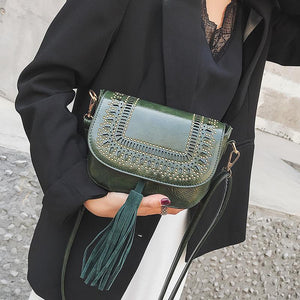 Lady Casual Leather Floral Fringe One Shoulder Small Bag