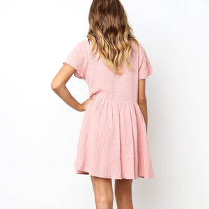 Casual Round Collar Plain Loose Shift Dress