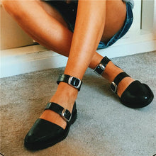 Load image into Gallery viewer, Fashion Blue Patchwork Buckle Flat Sandal