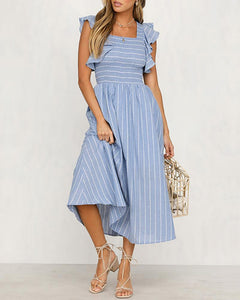 Cotton And Linen Striped Printed Ruffled Sleeve Dress