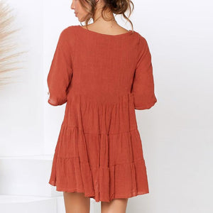 Round Neck Solid Color Mini Dress