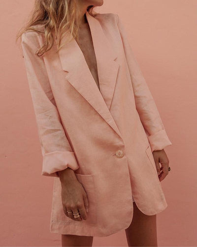 Casual Turndown Collar Long Sleeve Pure Colour Blazer