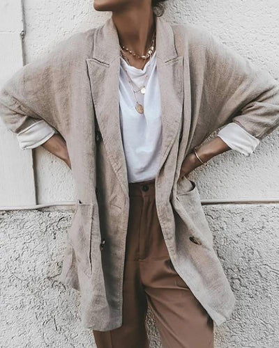 Casual Solid Colour Long Sleeve Loose Blazer