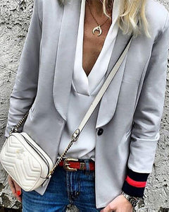 Fashion Brief Solid Colour Long Sleeve Blazer
