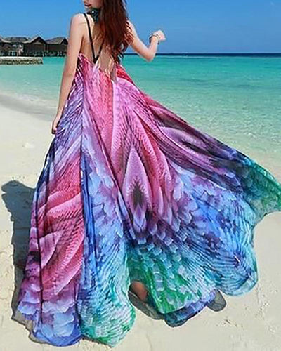 Open Back Sexy Print Long Skirt Chiffon Maxi Dress