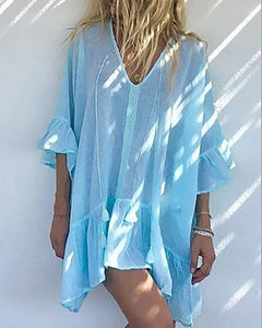 Loose Chiffon Trumpet Sleeve Dress Cover Up
