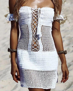 One-Shoulder Openwork Knit Cover Up