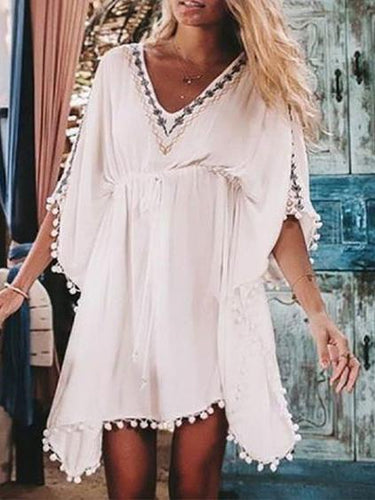 Tassel Drawstring Dress Cover Ups