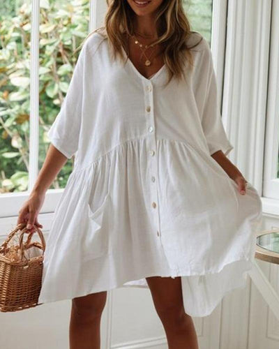 Cotton And Linen Solid Color V-Neck Button Dress