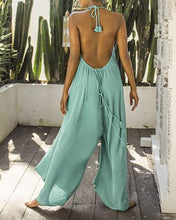 Load image into Gallery viewer, Halter Drawstring Halter Sexy Jumpsuit