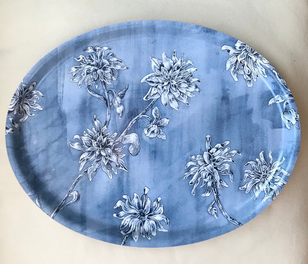 Oval tea tray/oval bricka Blå Blomster