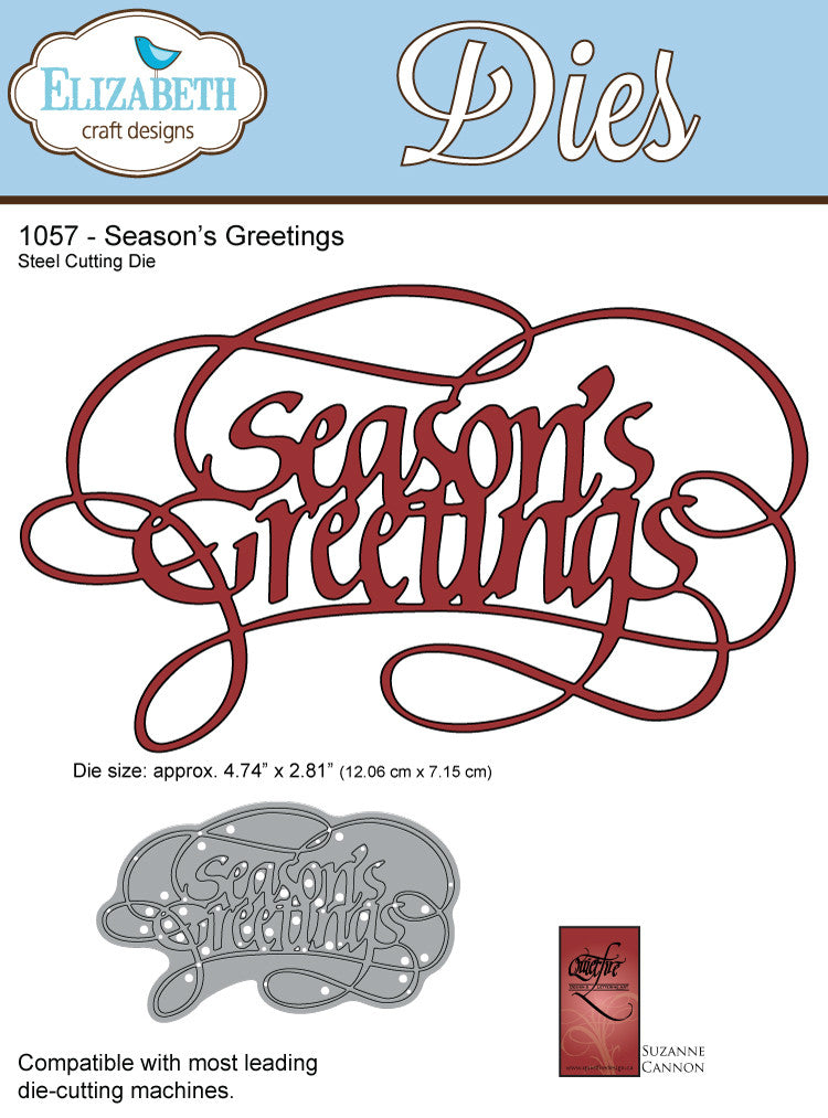 A Way With Words, Season's Greetings - Die - ElizabethCraftDesigns.com