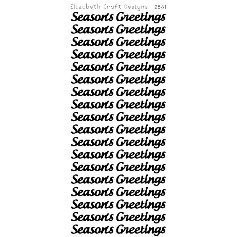 Season's Greetings Large (sku 2581) - Peel-Off sticker -  ElizabethCraftDesigns.com