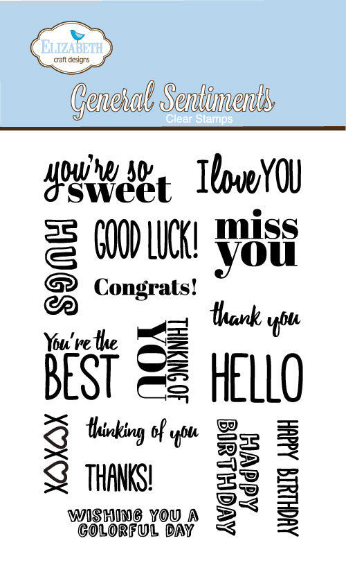 Clear Stamps - General Sentiments - ElizabethCraftDesigns.com
