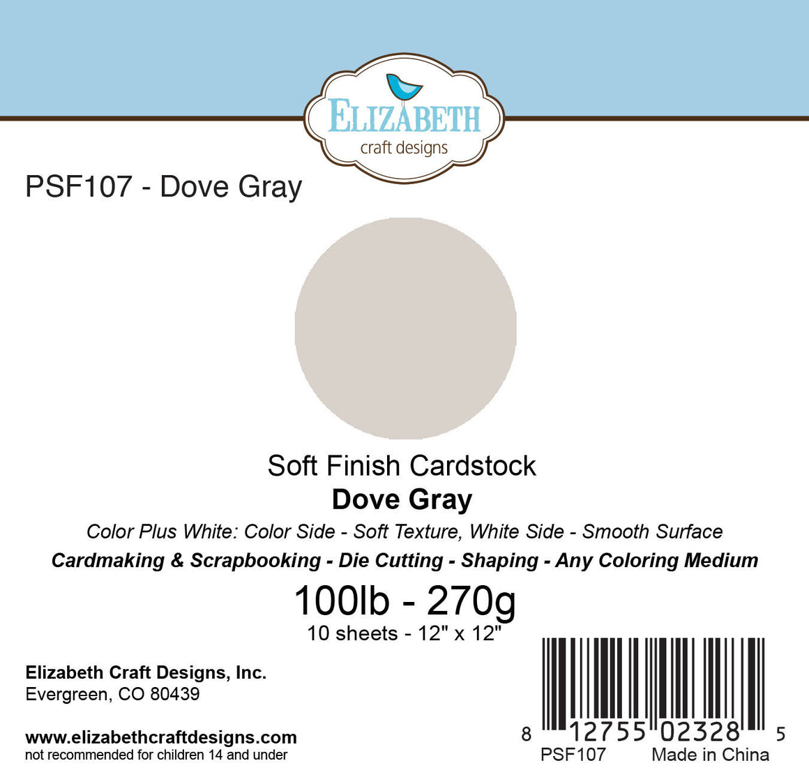 Soft Finish Cardstock, Dove Gray - Cardstock - ElizabethCraftDesigns.com