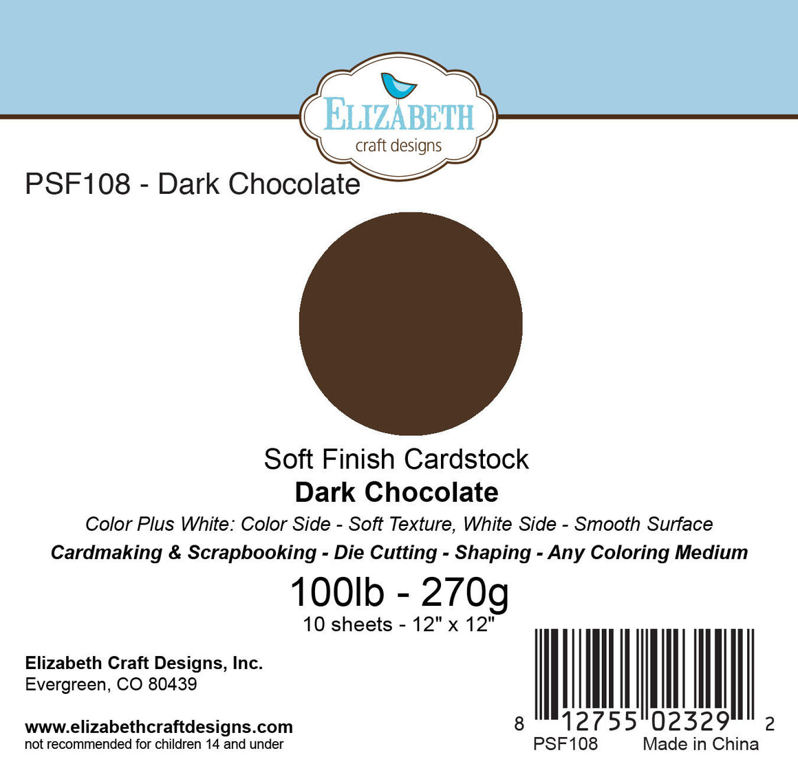 Soft Finish Cardstock, Dark Chocolate - Cardstock - ElizabethCraftDesigns.com