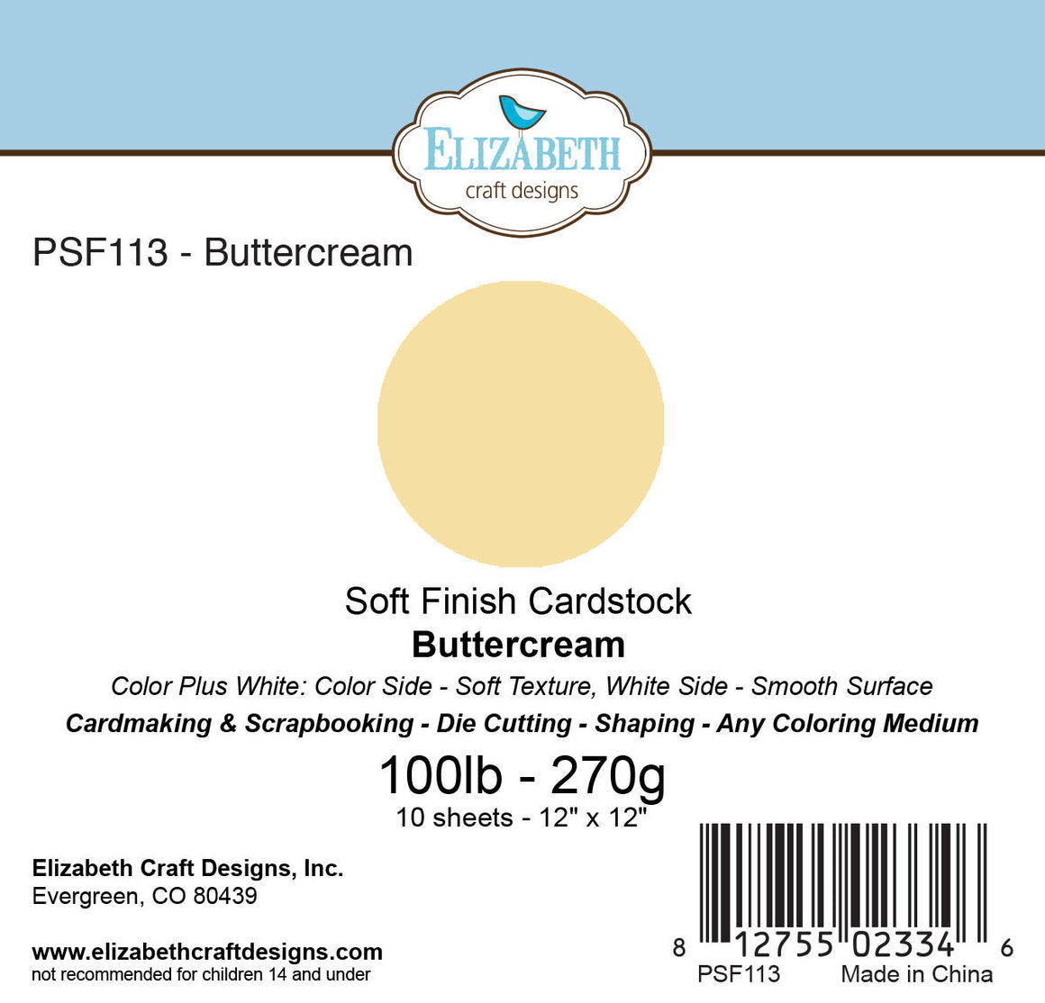 Soft Finish Cardstock, Buttercream - Cardstock - ElizabethCraftDesigns.com