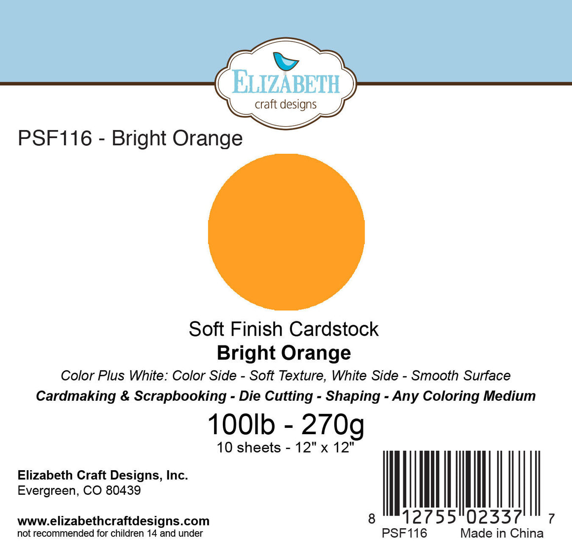 Soft Finish Cardstock, Bright Orange - Cardstock - ElizabethCraftDesigns.com