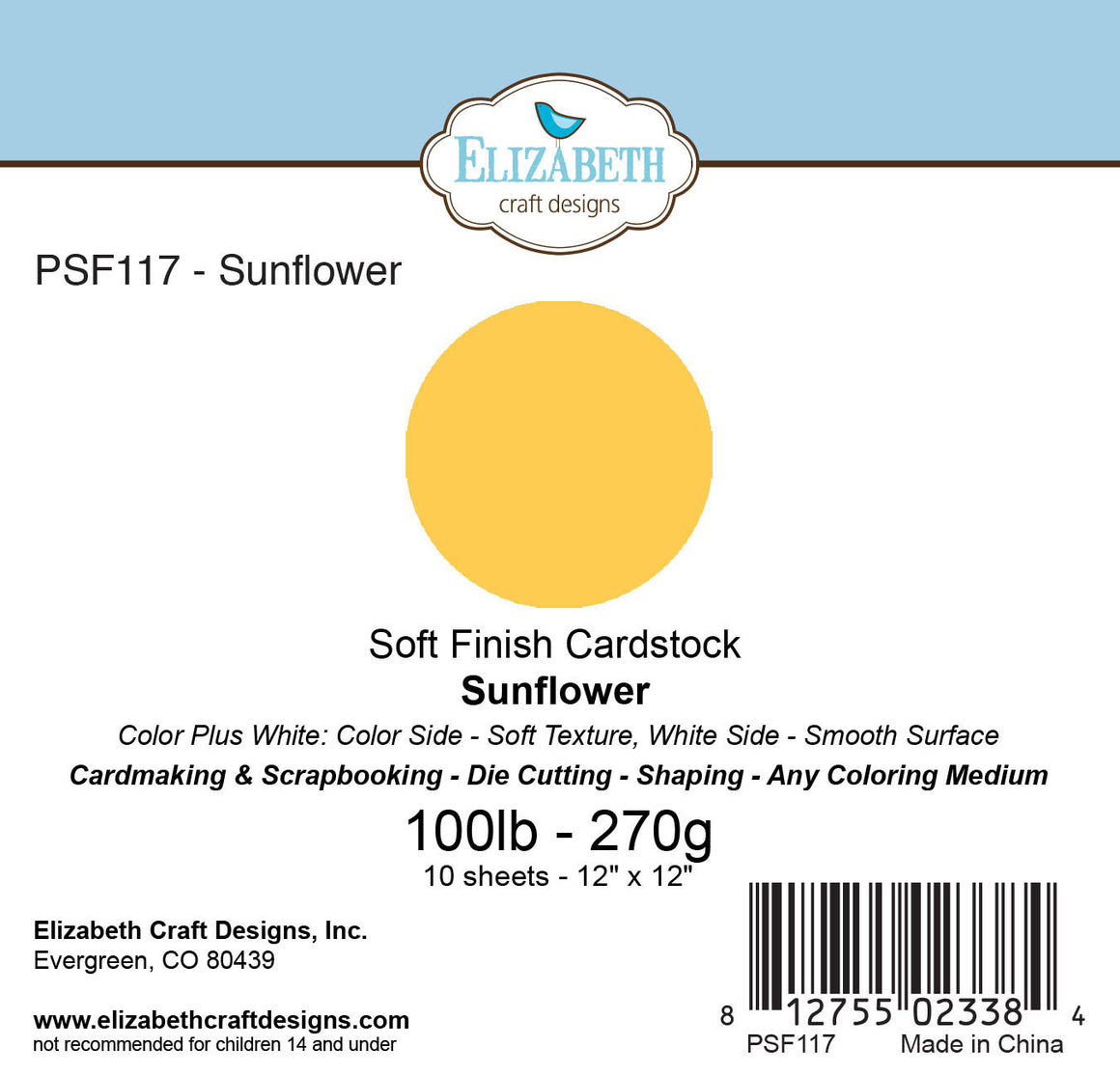 Soft Finish Cardstock, Sunflower - Cardstock - ElizabethCraftDesigns.com