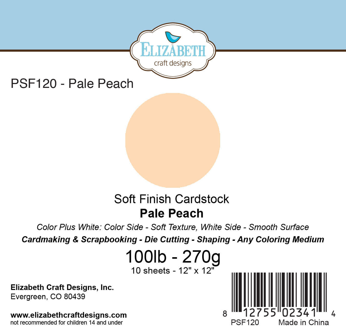 Soft Finish Cardstock, Pale Peach - Cardstock - ElizabethCraftDesigns.com