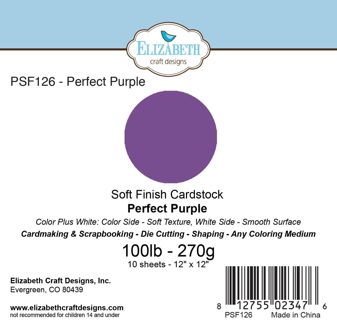 Soft Finish Cardstock, Perfect Purple - Cardstock - ElizabethCraftDesigns.com
